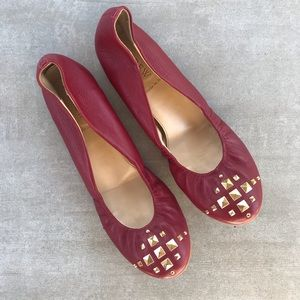 J. Crew CeCe red studded leather flats